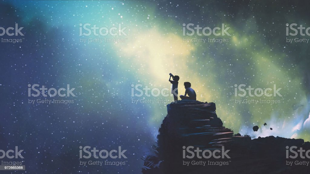 two brothers looking at stars vector art illustration