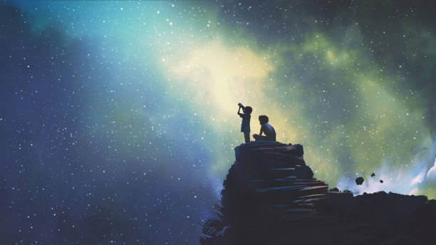 two brothers looking at stars - patrzeć stock illustrations