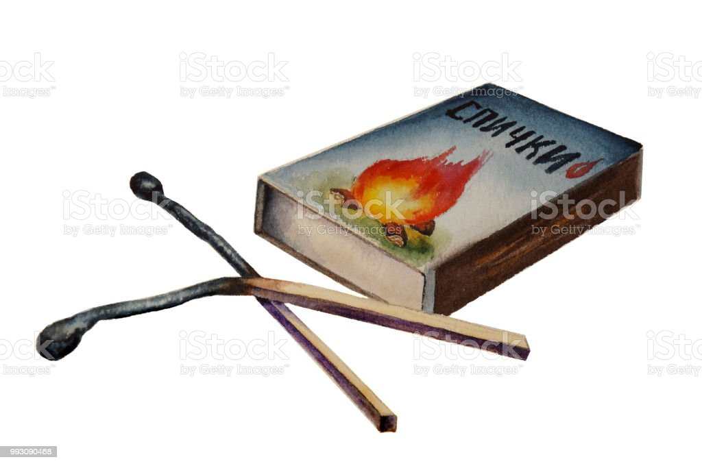 two burnt matches and matchbox vector art illustration