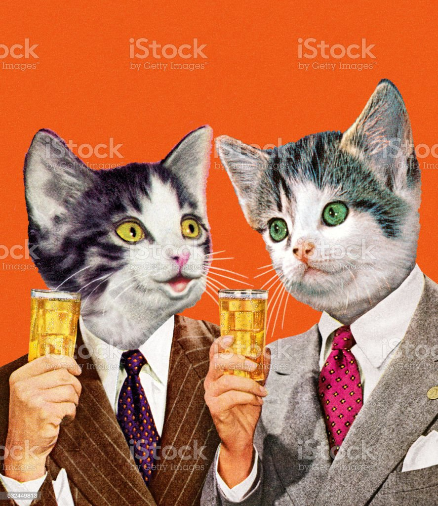Two Cat Businessmen Holding Drinks vector art illustration