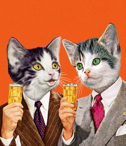 two cat businessmen holding drinks - happy hour stock illustrations, clip art, cartoons, & icons