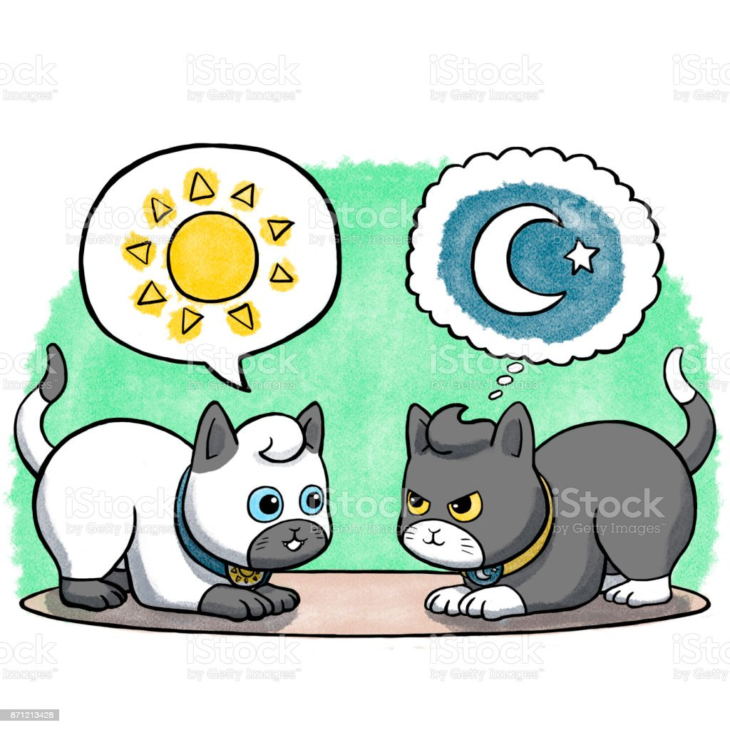 Two cats facing each other vector art illustration