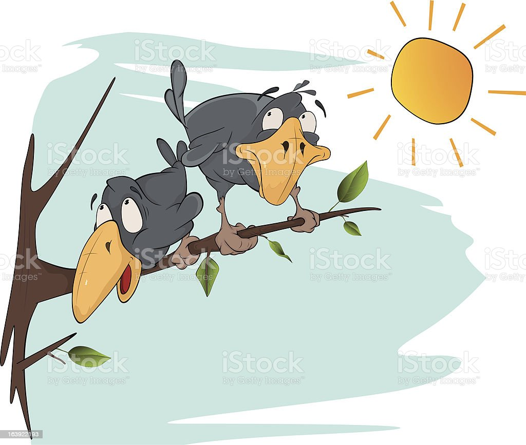 Two cheerful ravens. Cartoon royalty-free stock vector art