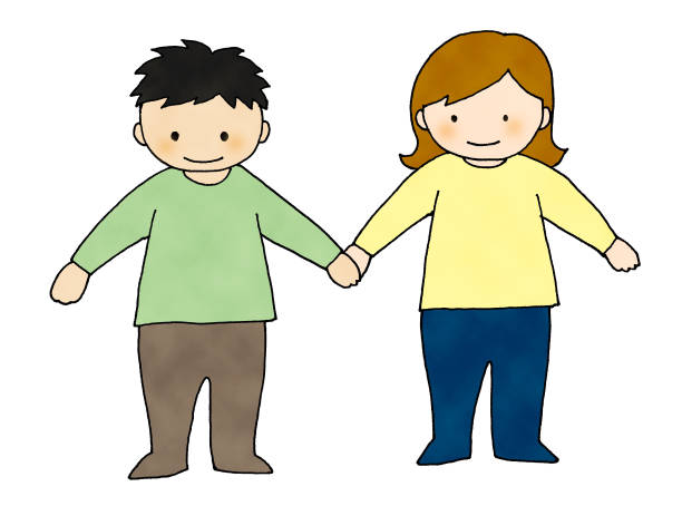 illustrazioni stock, clip art, cartoni animati e icone di tendenza di two children hold hands - two students together asian