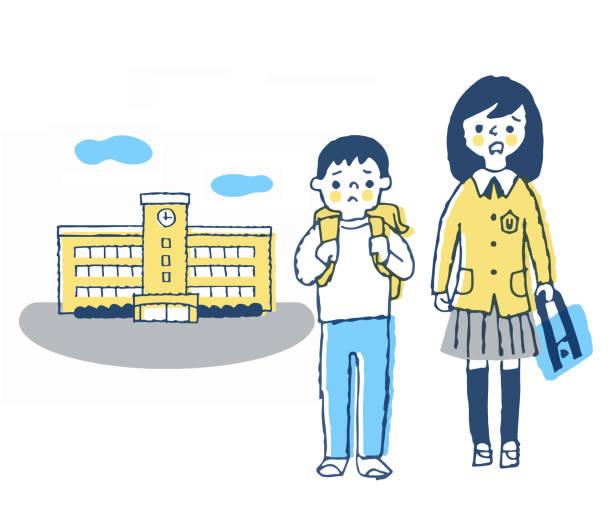 illustrazioni stock, clip art, cartoni animati e icone di tendenza di two children with anxious expression at school - two students together asian