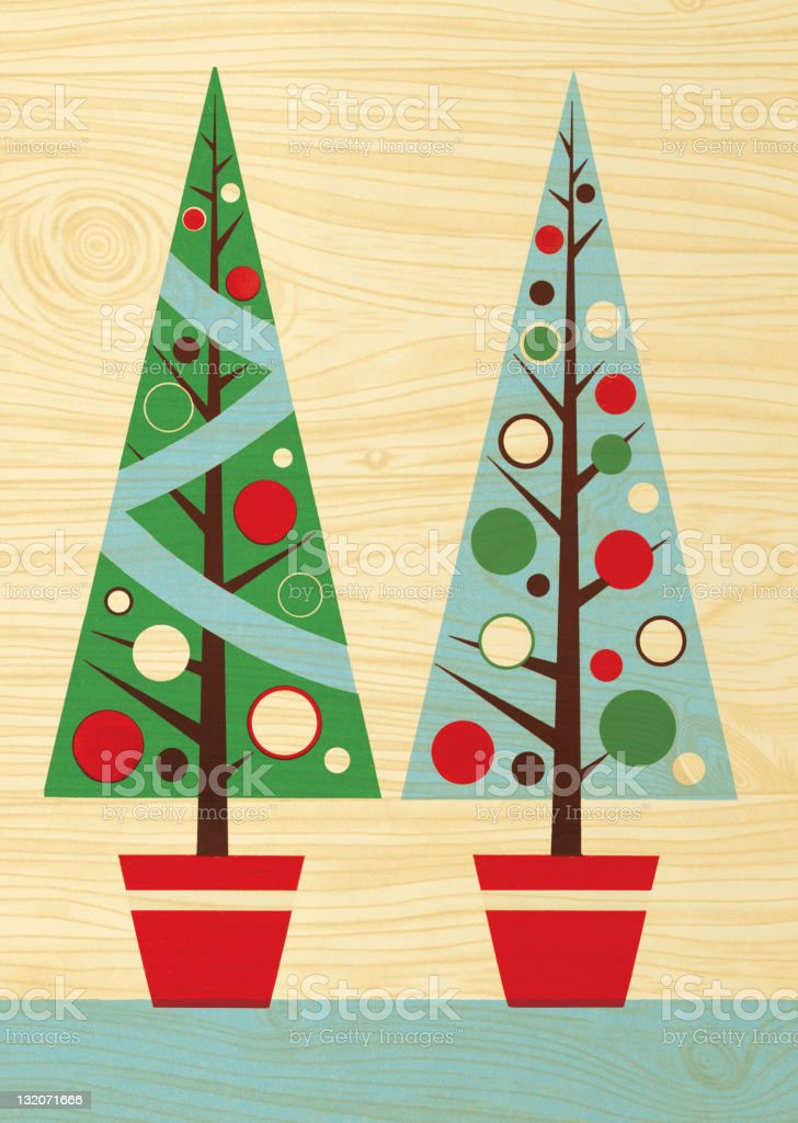 Two Christmas Trees on Wood Paneling royalty-free two christmas trees on wood paneling stock vector art & more images of celebration