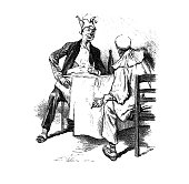 Two clowns are sitting at the table and discussing - 1896