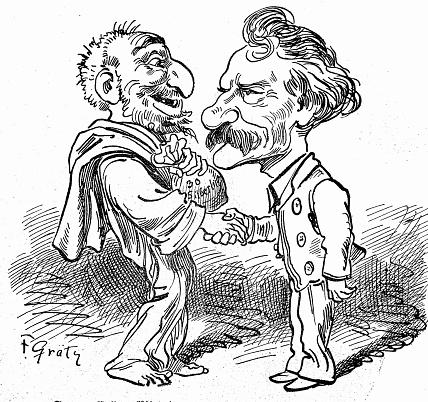 Two corrupt men handing over money, side view, full length