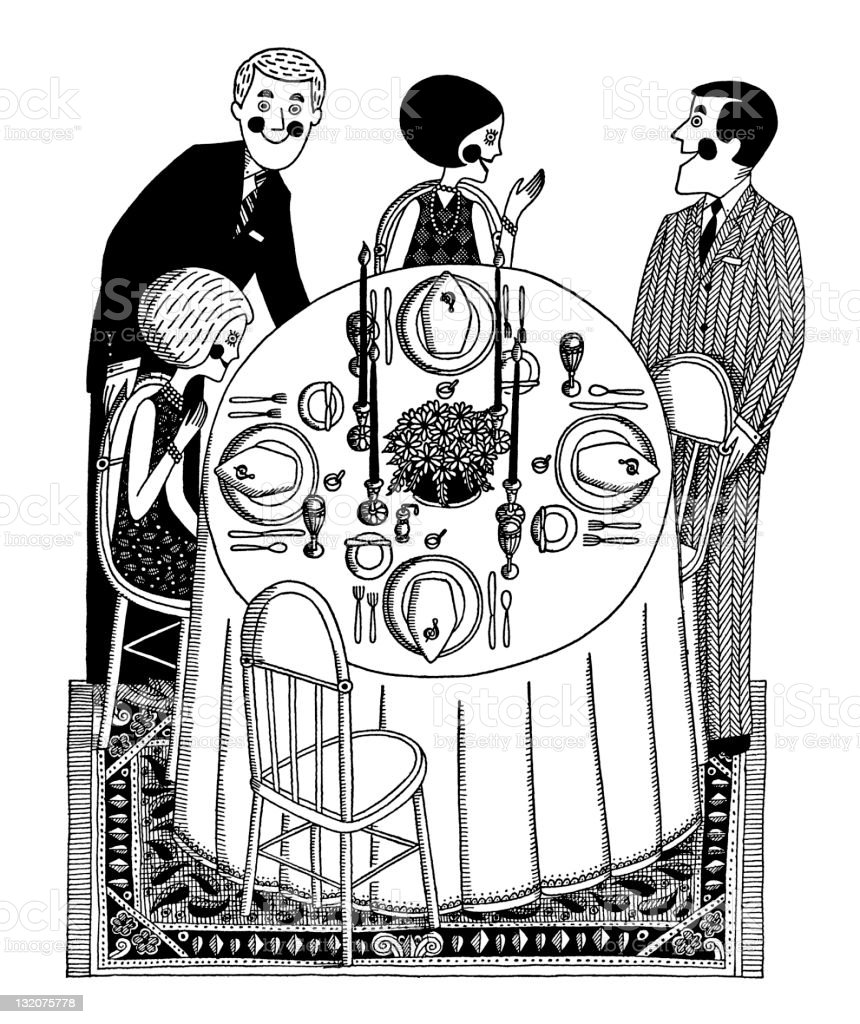 Two Couples Having Dinner royalty-free two couples having dinner stock vector art & more images of adult
