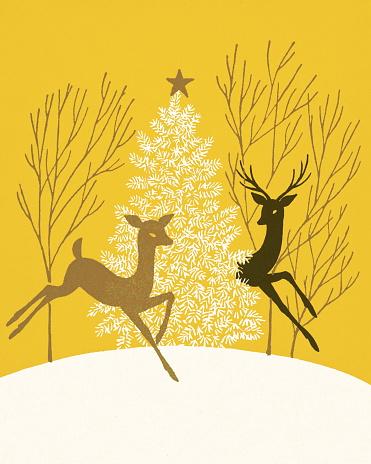 Two Deer and a Christmas Tree