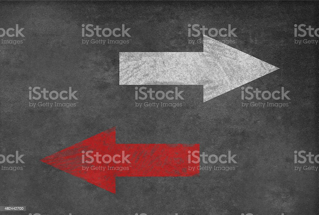 Two different directions on blackboard vector art illustration