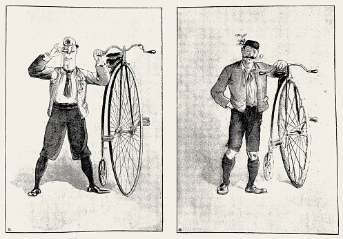 Two different types of penny farthing bicyclists, aloof and normal person