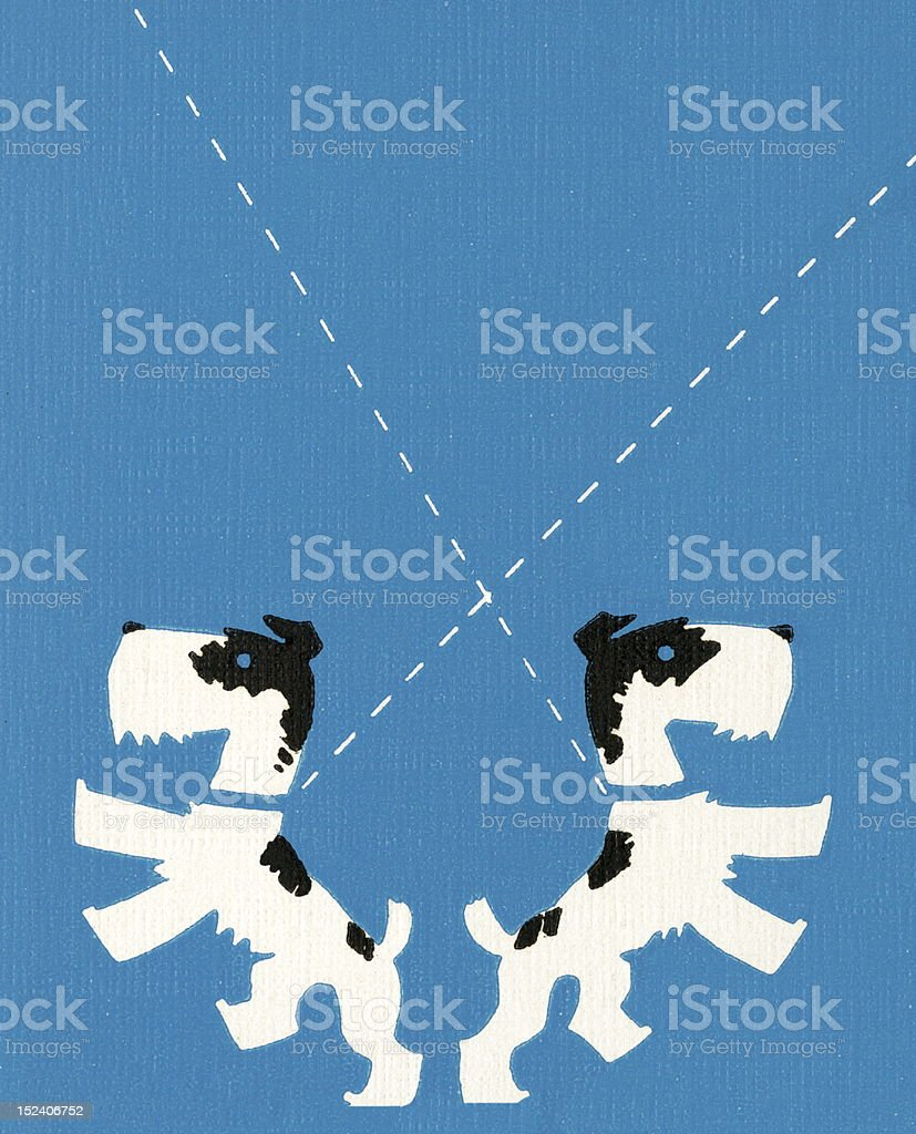 Two Dogs on Leashes royalty-free two dogs on leashes stock vector art & more images of animal
