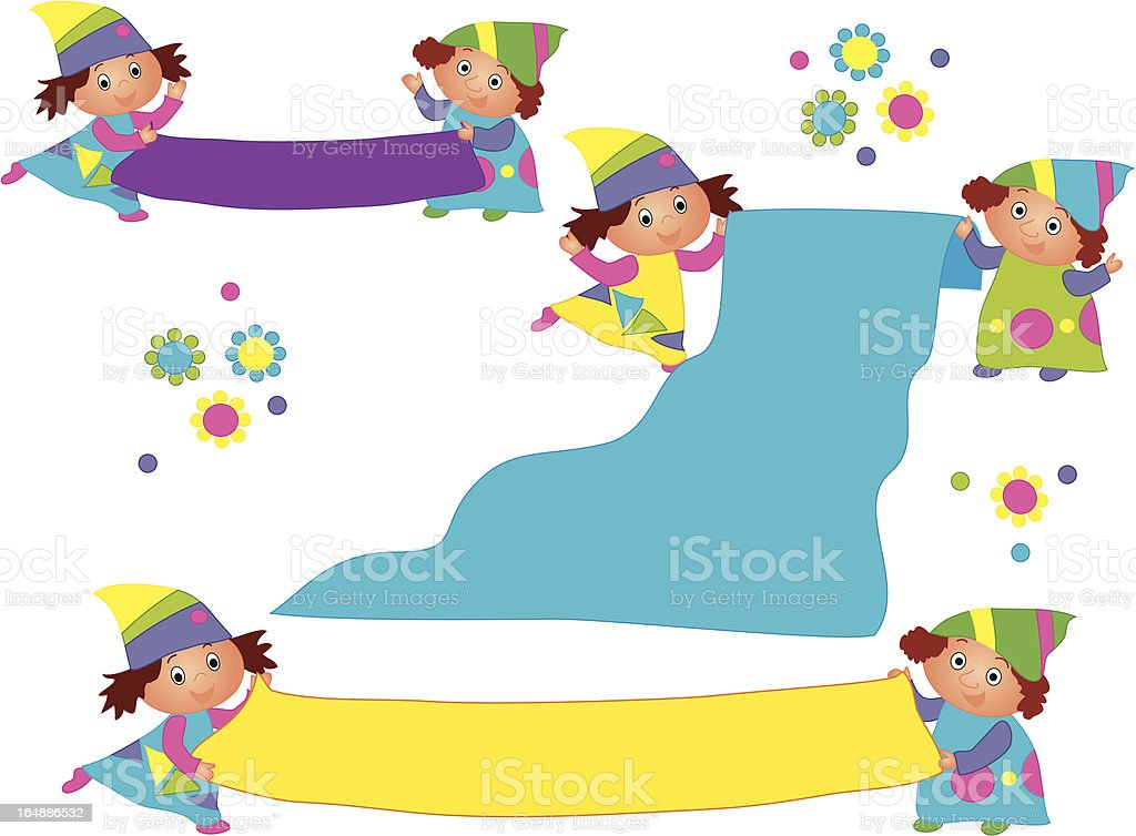 Two dwarfs with a sign royalty-free stock vector art