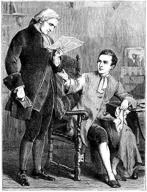 stockillustraties, clipart, cartoons en iconen met two eighteenth-century gentlemen discussing a newspaper article (victorian illustration) - 18e eeuwse stijl