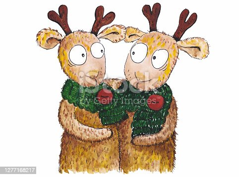 istock Two elks in the scarves 1277168217