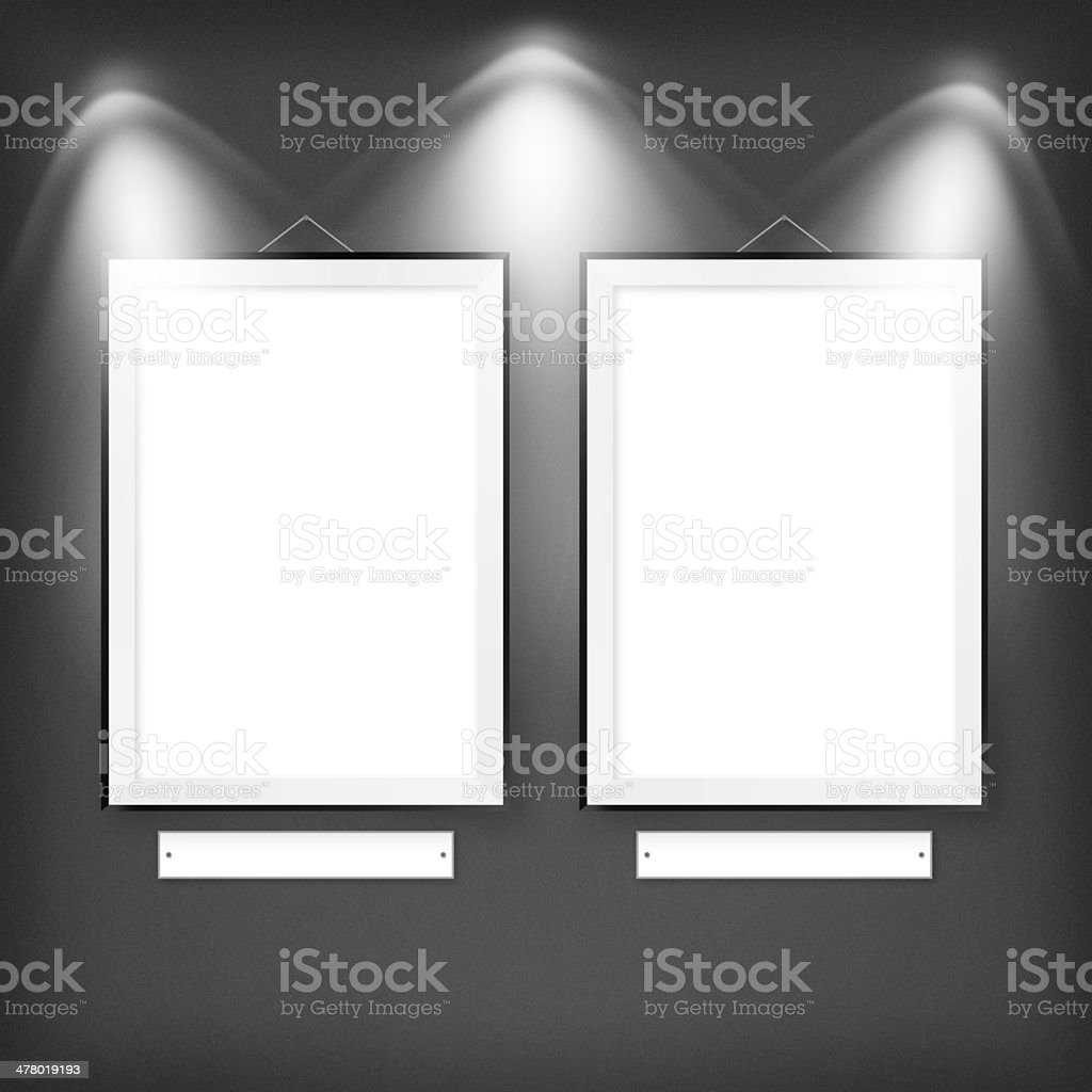 Two empty frames on a wall royalty-free stock vector art