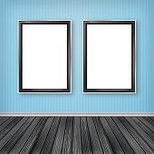 two empty frames on a wall - Empty Frames On Wall