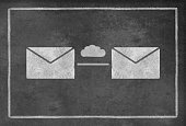 istock Two Envelopes with cloud symbol on Blackboard 482577286