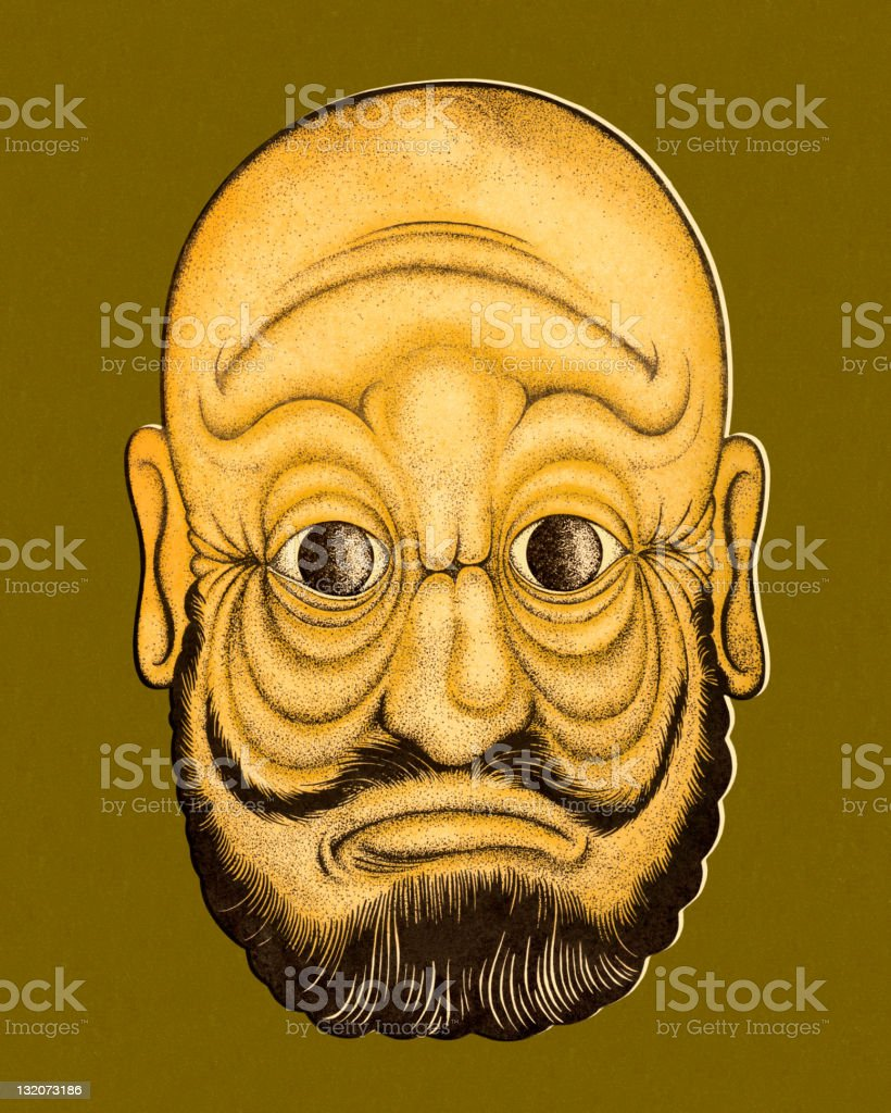 Two Faced Man View One vector art illustration