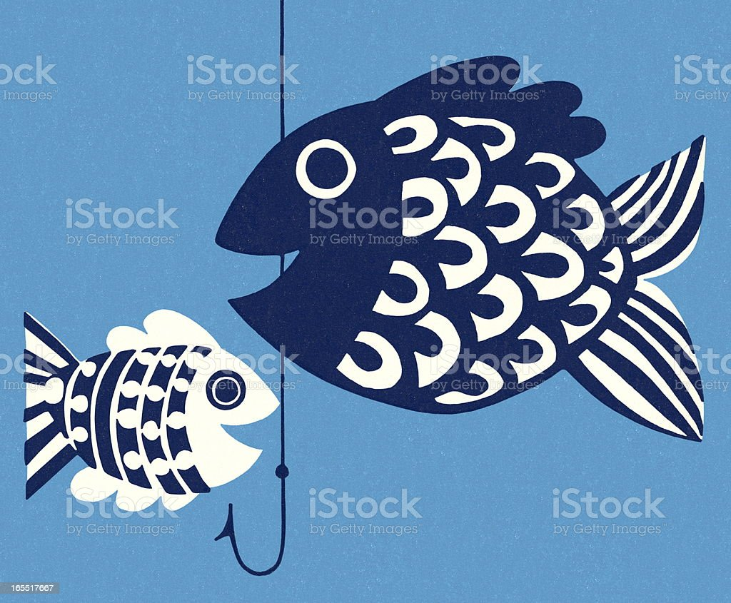 Two Fish and a Hook royalty-free two fish and a hook stock vector art & more images of activity