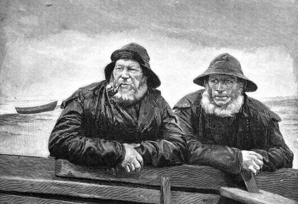 2 つの漁師は仕事を休んで、します。 - 漁師点のイラスト素材/クリップアート素材/マンガ素材/アイコン素材
