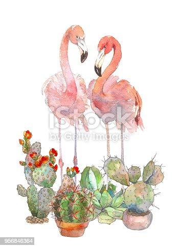 Beautiful pink tropical loving birds flamingo.Amazing painting for invitation, print, logo, poster card