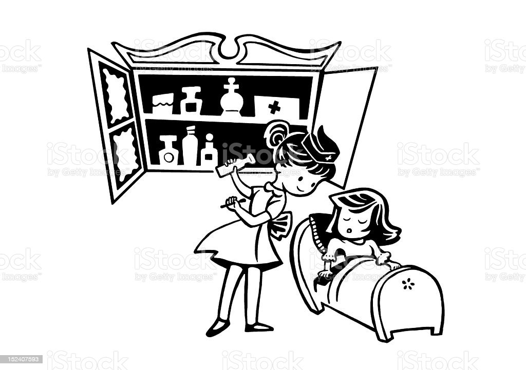 Two Girls Playing Doctor royalty-free stock vector art