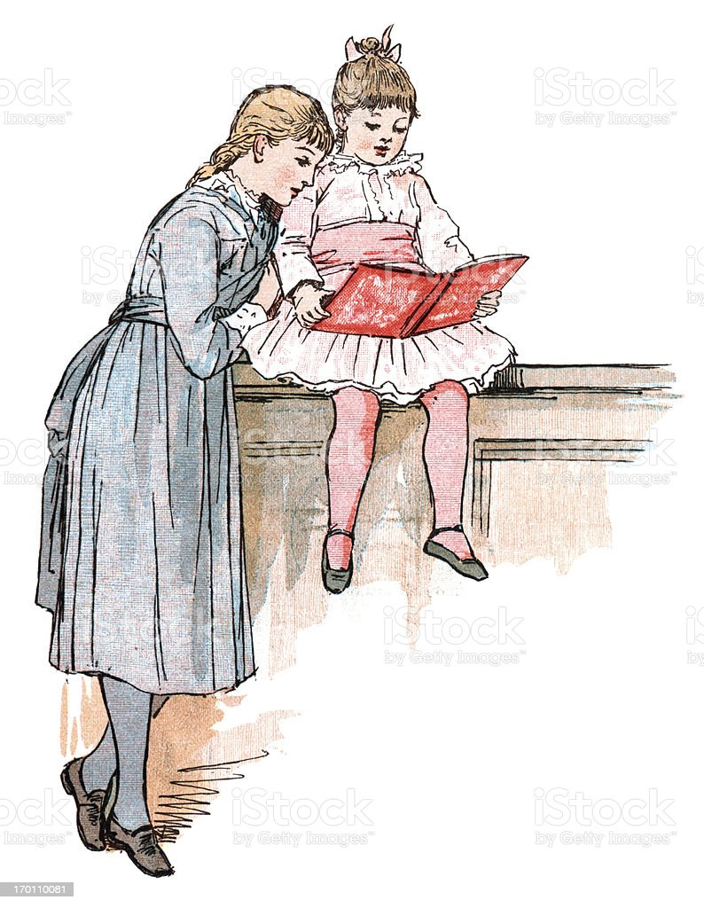 Two girls reading (Victorian illustration) royalty-free two girls reading stock vector art & more images of 1880-1889