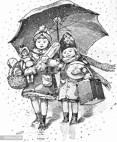 Two girls walking in the snow, with christmas gifts and umbralla