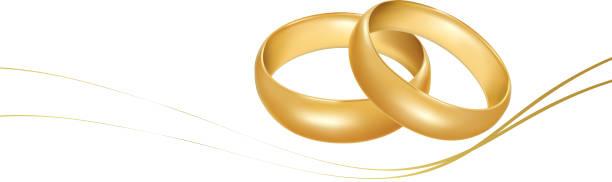 zwei goldene hochzeit ringe. - trauring stock-grafiken, -clipart, -cartoons und -symbole