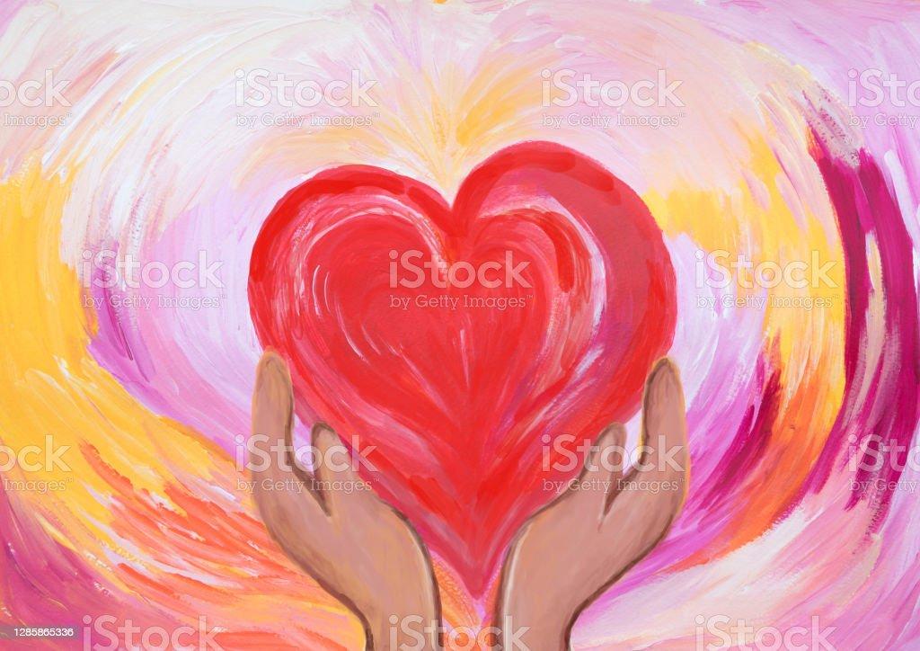 Dos manos sosteniendo el corazón rojo. concepto de amor y cuidado. Pintura acrílica. - Ilustración de stock de Abstracto libre de derechos