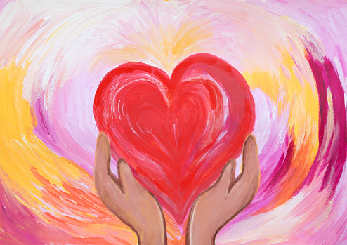 Two hands holding red heart. concept of love and care. Acrylic painting.