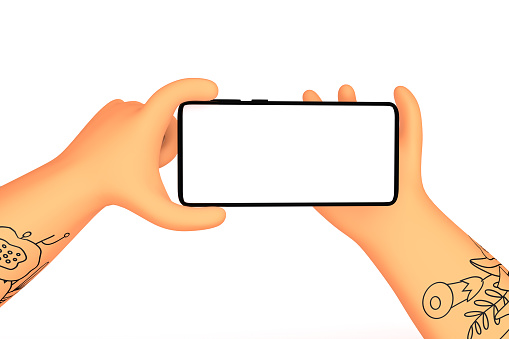 Two Hands with tattoo holding horizontal orientation smartphone mockup with blank white screen. Trendy cartoon 3d render illustration on white background