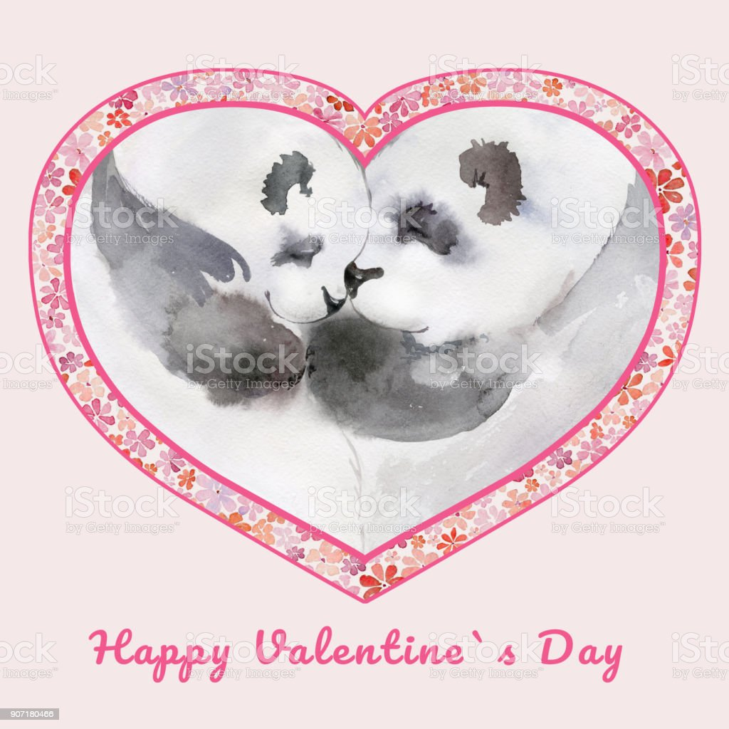 Two Kissing Pandas In Heart Shaped Frame With Small Flowers Sign ...