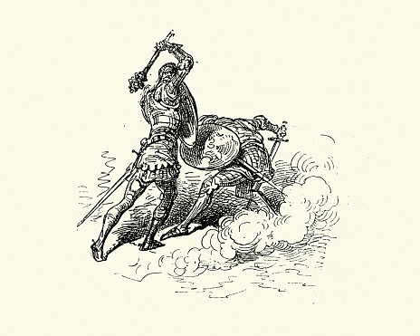 Two knights in armour fighting in single combat