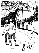 istock Two late Victorian country gents chatting roadside 517747321