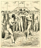 Two man boxing on sports festival in Frankfurt 1880