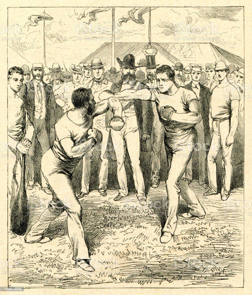 Dois homem boxe no festival esportivo em Frankfurt 1880 - ilustração de arte em vetor