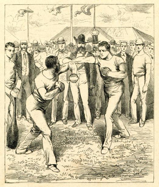 ilustraciones, imágenes clip art, dibujos animados e iconos de stock de dos hombre de boxeo en festival deportivo en frankfurt 1880 - boxeo deporte