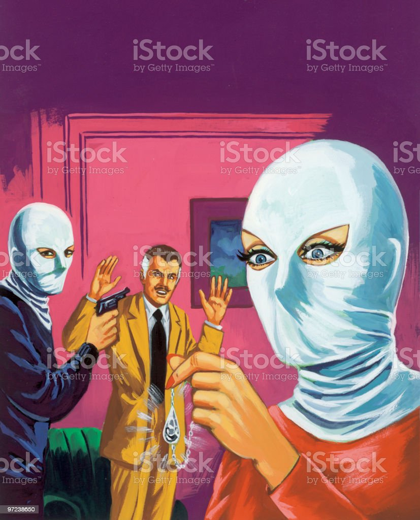 Two Masked People Robbing Man vector art illustration
