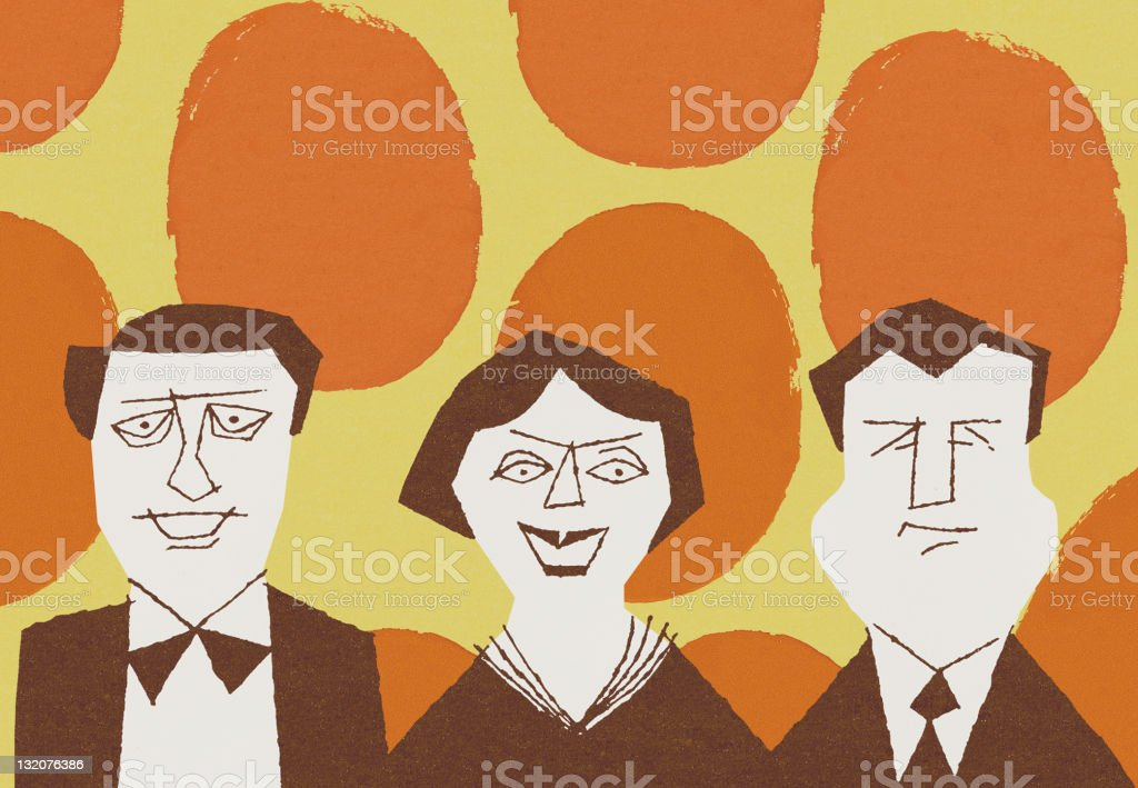 Two Men and A Woman on Polka Dot Background royalty-free stock vector art