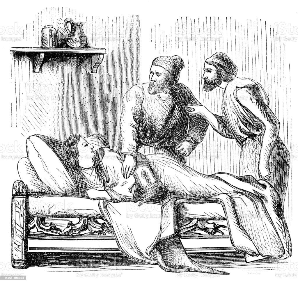 Two men check on an ill woman in bed from Pilgrim's Progress vector art illustration