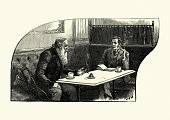 Two men drinking and smoking in a cafe Victorian, 19th Century