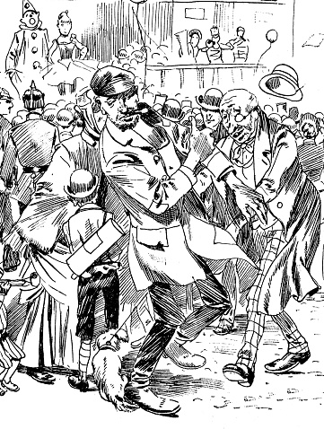 Two men having trouble on street, behind a crowd of people