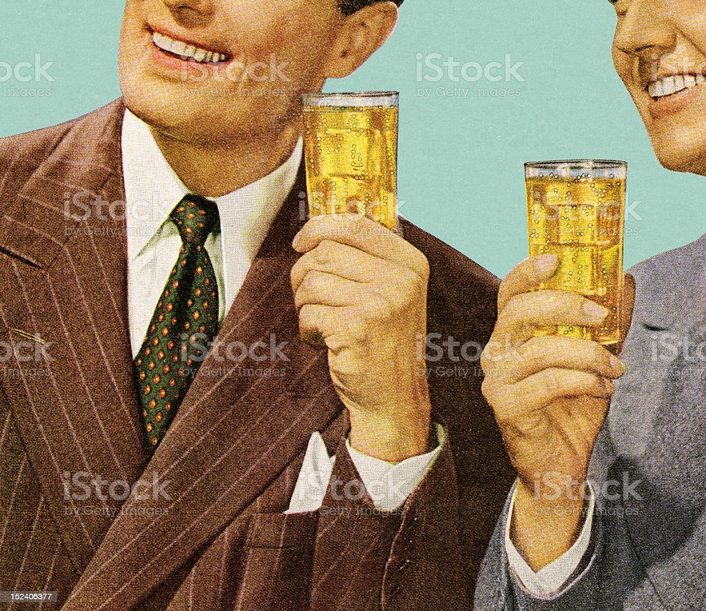 Two Men Holding Drinks royalty-free stock vector art