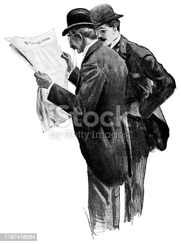 Portrait of two men in Victorian fashion reading a newspaper. Vintage etching circa late 19th century.
