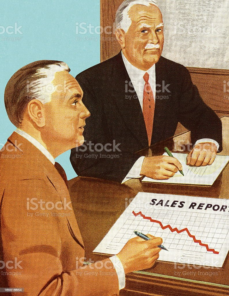 Two Men Looking at a Sales Report vector art illustration