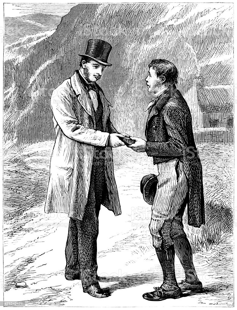 Two men meeting on a country road (1874 illustration vector art illustration