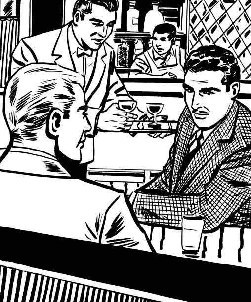 2 つの男性用ラウンジ内側のバー - バーテンダー点のイラスト素材/クリップアート素材/マンガ素材/アイコン素材